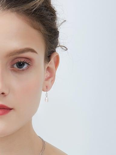 Simple Water Drop Freshwater Pearl 925 Silver Earrings