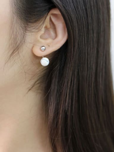 Fashion White Turquoise stone Little Smooth Bead Silver Stud Earrings