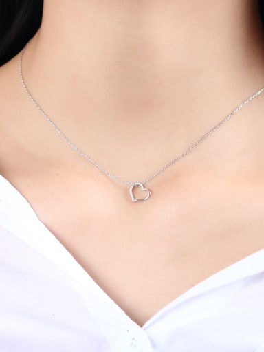 925 Sterling Silver With Cubic Zirconia  Simplistic Heart Locket Necklace