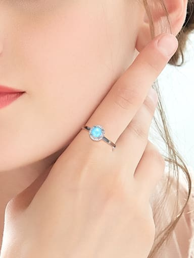 Fashion Opal stone Tiny Zirconias 925 Silver Ring