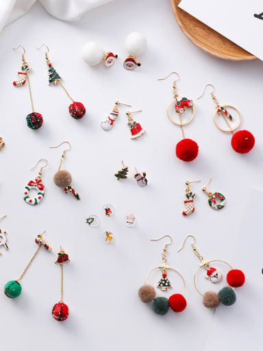 Alloy With Rose Gold Plated Cute Santa Clausr Gift Candy Cane fashion earrings Drop Earrings