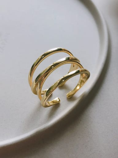 925 Sterling Silver With Gold Plated Simplistic Smoth Round Stacking Rings