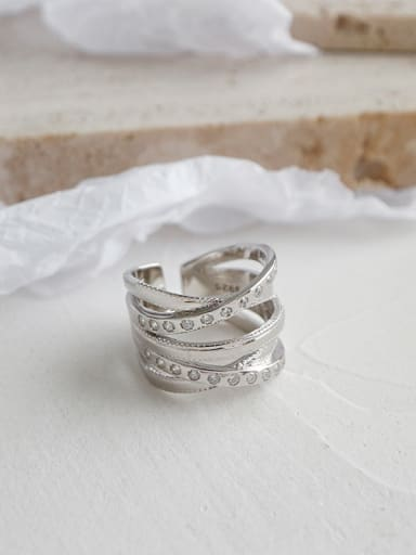 925 Sterling Silver With Platinum Plated Fashion Irregular Free Size Rings