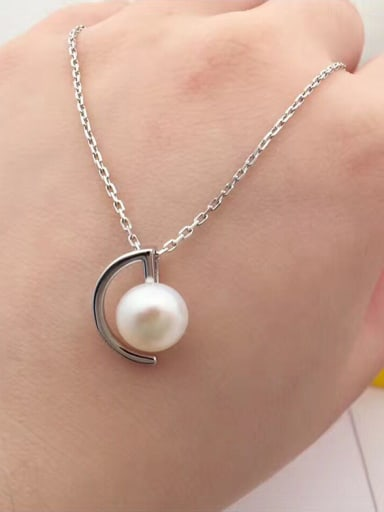 Personalized Freshwater Pearl Crescent Necklace