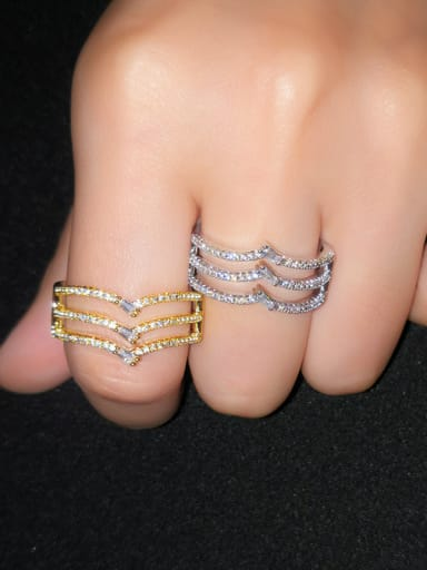 Copper With  Cubic Zirconia Simplistic Geometric Band Rings