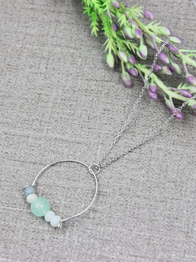 Women Delicate Green Natural Stone Necklace