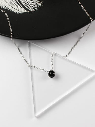 Simple Little Black Round Carnelian stone Silver Necklace