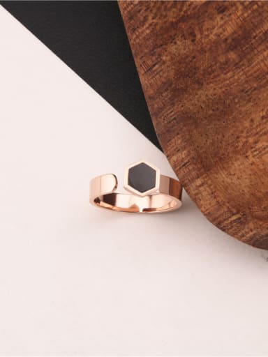 Geometric Hexagonal Black Agate Ring