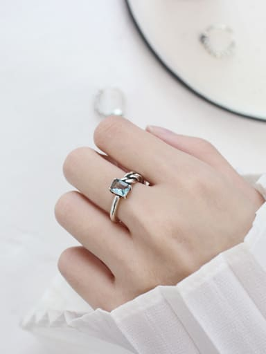 Pure silver retro chain agate free size ring