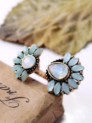 Flowers Shape Artificial Stones Opening Statement Ring