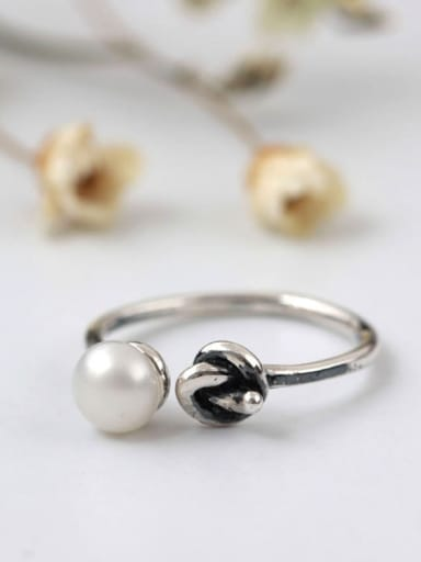 Knot Freshwater pearl Opening Ring