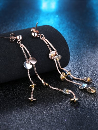 Exquisite Three Color Design Round Shaped Drop Earrings