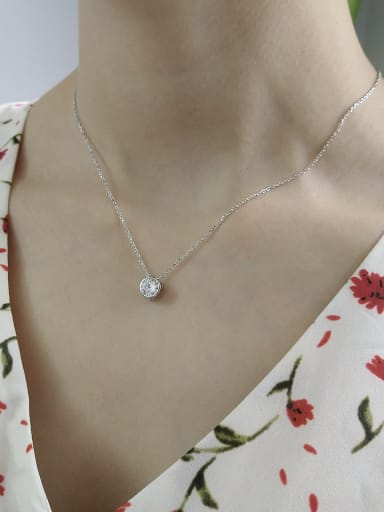 Sterling Silver single style AAA Zircon Necklace