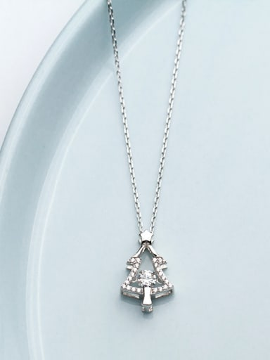 925 Sterling Silver With Rhodium Plated Simplistic  SChristmas Tree  Necklaces