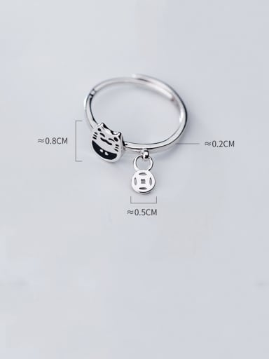 925 Sterling Silver With Platinum Plated Simplistic Cat Free Size  Rings