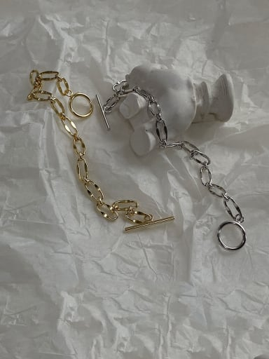 925 Sterling Silver With Gold Plated Simplistic Hollow  Chain Bracelets