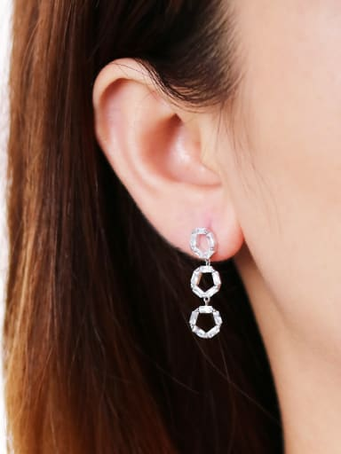 925 Sterling Silver With Cubic Zirconia Luxury Round Drop Earrings