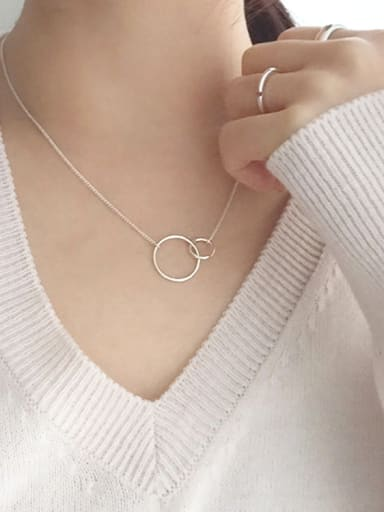 Sterling silver fashion personality simple glossy double circle necklace
