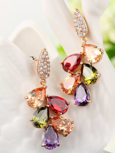 Copper With Champagne Gold Plated Trendy Flower Cubic Zirconia Stud Earrings