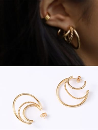 Titanium With Gold Plated Simplistic Round Hoop Earrings