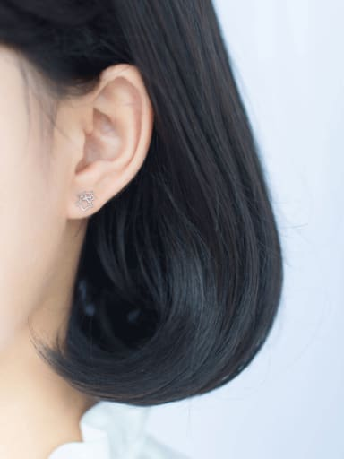 S925 Silver Hollow Star Stud cuff earring