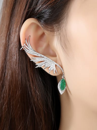 Copper With Platinum Plated Exaggerated Feather Chandelier Earrings