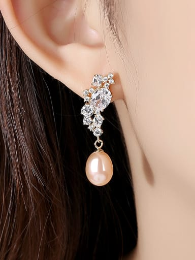 925 Sterling Silver With Artificial Pearl Personality Flower Drop Earrings