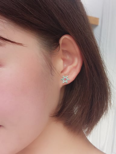 Tiny Green Snowflake Stud Earrings