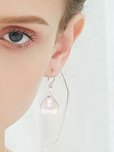 Fashion Freshwater Pearl Shell Silver Earrings