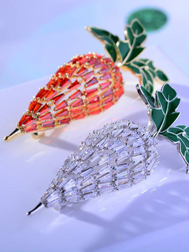 Copper With Cubic Zirconia Cute Food radish Brooches
