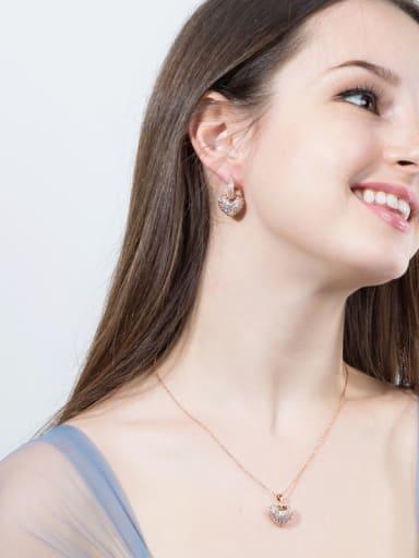 Luxury Shine High-Quality Zircon heart love  Necklace Earrings 2 Piece jewelry set