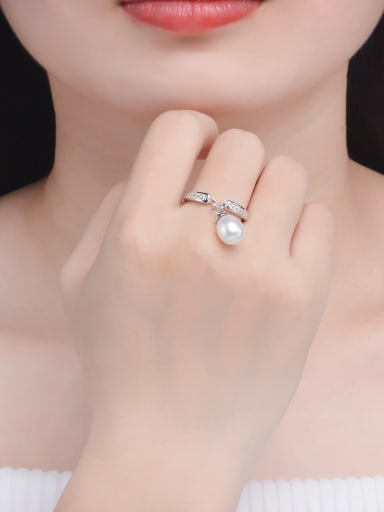 Oval Freshwater Pearl Platinum Plated Silver Ring