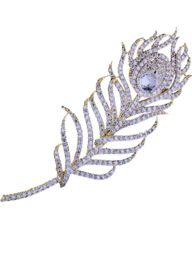 Copper With Cubic Zirconia Fashion Feather Brooches