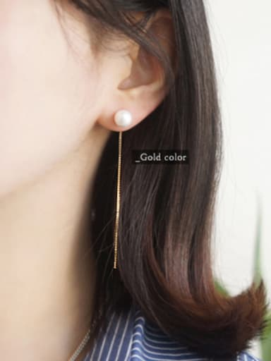 Simple White Artificial Pearls Slim Line Silver Stud Earrings