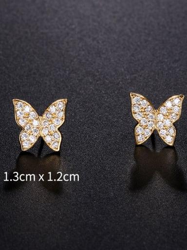 Copper With Cubic Zirconia Cute Butterfly Stud Earrings