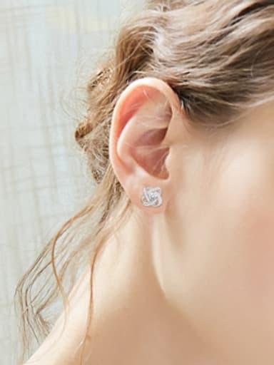 Fashion Zircon Tiny Flowery Stud Earrings