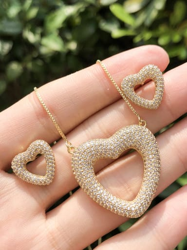 Copper With Cubic Zirconia Classic Heart Jewelry Sets