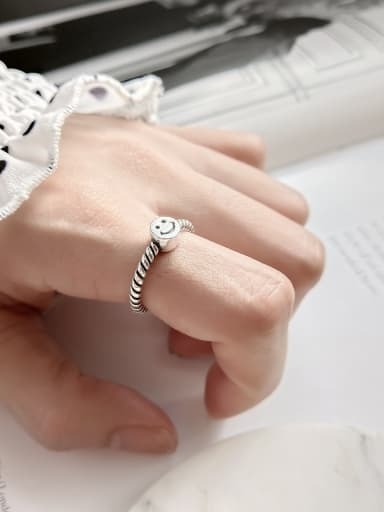 Sterling Silver retro-style smile free size ring