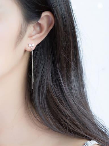 Temperament Bowknot Shaped Tassels Zircon Drop Earrings