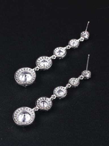 Copper With Platinum Plated Simplistic Round Drop Earrings