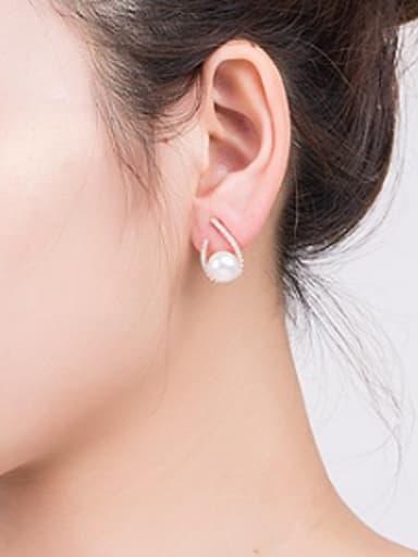 2018 Freshwater Pearl Water Drop shaped stud Earring