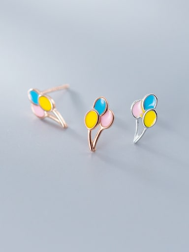 925 Sterling Silver With Platinum Plated Cute Geometric Stud Earrings