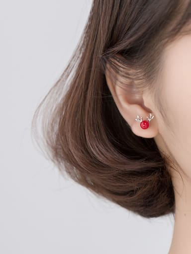 925 Sterling Silver With Platinum Plated Cute Round Stud Earrings