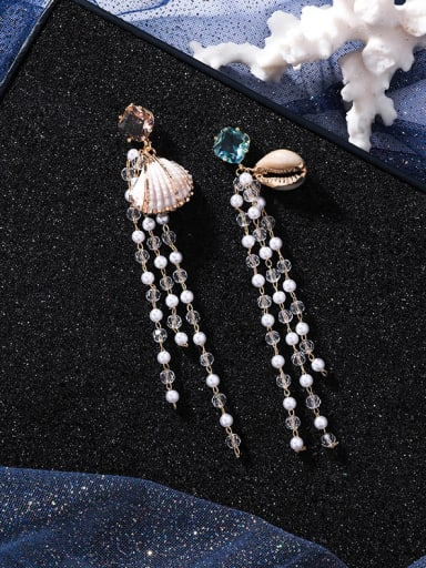 Alloy With Rose Gold Plated Bohemia Charm Conch Beads Tassels Earrings