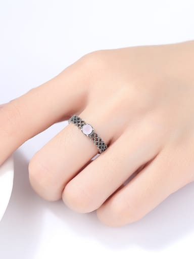 925 Sterling Silver With Antique Silver Plated Vintage Geometric Free Size  Rings