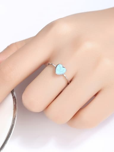 925 Sterling Silver With Opal Fashion Heart Band Rings