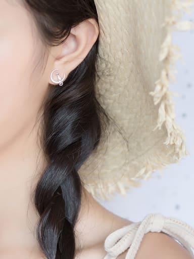 S925 Silver Kitten On Moon Sweet Stud cuff earring