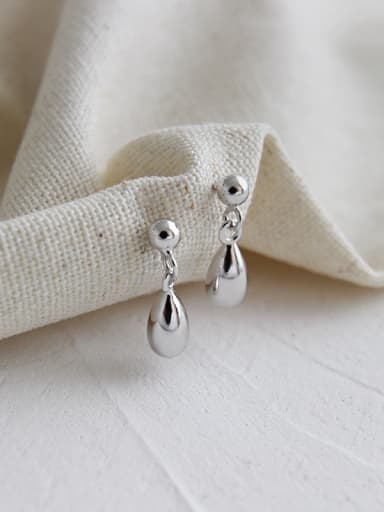 925 Sterling Silver With Platinum Plated Simplistic Water Drop Stud Earrings