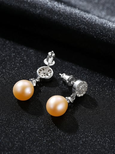 Sterling silver micro-set 3A zircon 8-9mm natural pearl earrings