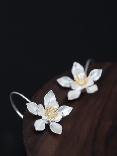 Retro style Lotus Flower 925 Silver Elegant Earrings